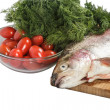 Stock Photo: Salmon with greenery