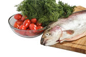 Salmon with greenery — Stock Photo