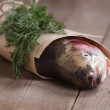 Salmon with greenery — Stok Fotoğraf #18982627