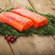 Royalty-Free Stock Photo: Salty salmon on the old table