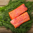 Foto de Stock  : Gravad lax on greenery