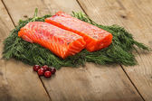 Salty salmon on the old table — Stock Photo