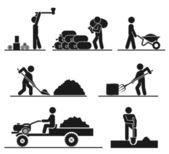 Alan ve arka bahçesinde zor işi temsil eden ikonlar — Stok Vektör
