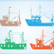 Fishing boats — Stock Vector