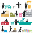 EMPLOYEES IN THE SUPERMARKET — Stock Vector