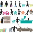 MEN AND WOMEN GO SHOPPING — Stock Vector #37102999