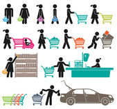 MEN AND WOMEN GO SHOPPING — Cтоковый вектор