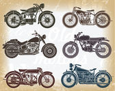 Vector set of old classic motorcycle — Stock Vector