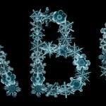 Alphabet of snowflakes — Stock Photo