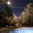 Snow in the night city — Stock Photo
