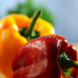 Stock Photo: Red and yellow peppers