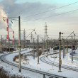 Winter railway station in Russian city — Stock Photo