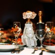 Festive table setting wedding table, beautiful glasses wine and food - Stock Photo