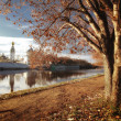 Autumn landscape on the river in Vologda, Russian Orthodox Church — Foto Stock