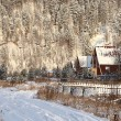 Snowy rural landscape in winter - Stock Photo