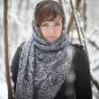 Woman in russian scarf — Stock Photo