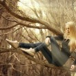 Beautiful young girl in a magical forest, a mysterious fairy tale Halloween — Stock Photo