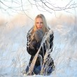 Portrait of frozen girl beautiful blonde — 图库照片