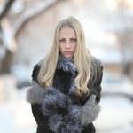 Portrait of frozen girl beautiful blonde — Stock Photo #22168717