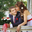 Stock Photo: Portrait of bride and groom