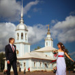 Wedding ceremony in the church — Stockfoto