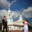 Wedding ceremony in the church — Stock Photo