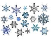 Kolekce sněhových vloček — Stock fotografie