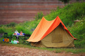 Old tent on the nature, scout camp — Stock Photo