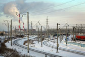 Winter railway station in Russian city — Foto Stock