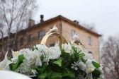 Decoração do carro de casamento com flores e anéis — Fotografia Stock