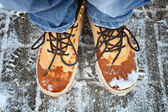 Snowy boots — Stock Photo