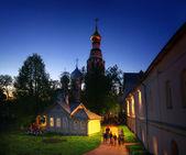 Illuminated at night Church — Stock Photo
