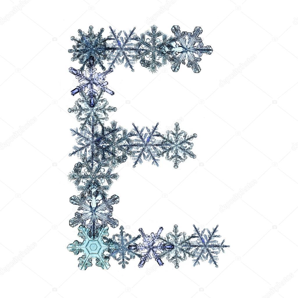 Alphabet de hiver no l flocon de neige lettre e - Alphabet de noel ...