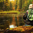 Stock Photo: Men, lake and forest