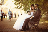 Bench in the park, the couple on the bench — Stock Photo