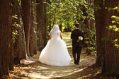 Young bride and groom at a wedding in the summer park — Stock Photo
