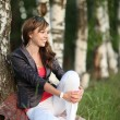 Beautiful girl in the birch forest — Foto de Stock