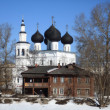 Orthodox church against blue spring sky — Stock Photo