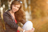 Beautiful girl in the birch forest — Stock Photo