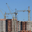 Stock Photo: Cranes are building house