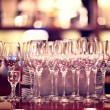 Stock Photo: Glasses on table in restaurant