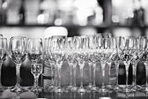 Glasses on the table in a restaurant — Stock Photo