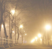Autumn mist in city — Stock Photo