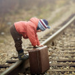 Little traveler with suitcase on railroad — Stock Photo #36319261