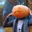Halloween girl with pumpkin head — Stock Photo #36319409