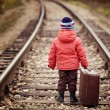 Little traveler with a suitcase on the railroad — Stock Photo #36319641