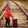 Little traveler with a suitcase on the railroad — Stock Photo #36319671