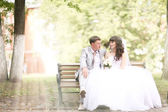 Bride and groom at the wedding — Stock Photo