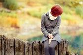 Sad girl in autumn — Stock Photo