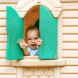 Little boy playing on the playground — Stock Photo